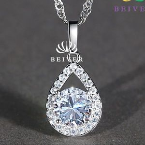 Jewelry - Beautiful  Clear Brilliant Cut CZ Water-Drop